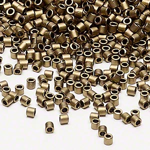 seed bead, delica, glass, opaque matte metallic dark gold, (dbl322), #8 round. sold per 7.5-gram pkg.
