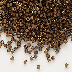 seed bead, delica, glass, opaque matte metallic luster bronze, (db1051), #11 round. sold per pkg of 250 grams.