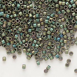 seed bead, delica, glass, opaque matte metallic rainbow dark green, (db324), #11 round. sold per 7.5-gram pkg.