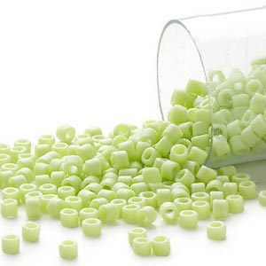 seed bead, delica, glass, opaque matte rainbow light green, (db876), #11 round. sold per 7.5-gram pkg.