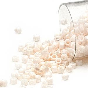seed bead, delica, glass, opaque matte rainbow white, (db1520), #11 round. sold per 50-gram pkg.