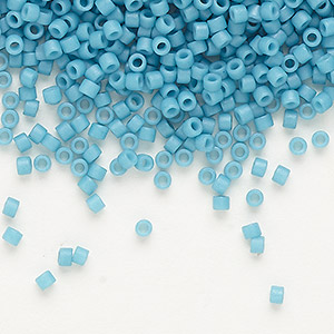 seed bead, delica, glass, opaque matte royal blue, (db798), #11 round. sold per 50-gram pkg.