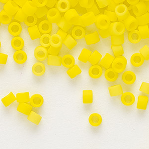 seed bead, delica, glass, opaque matte yellow, (db751), #11 round. sold per 7.5-gram pkg.