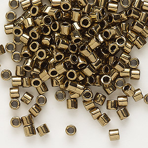 seed bead, delica, glass, opaque metallic bronze, (dbl22), #8 round. sold per 7.5-gram pkg.