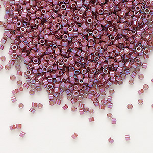 seed bead, delica, glass, opaque metallic luster rainbow cherry, (db1015), #11 round. sold per pkg of 250 grams.