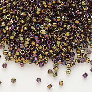 seed bead, delica, glass, opaque metallic rainbow bronze, (db23), #11 round. sold per 7.5-gram pkg.