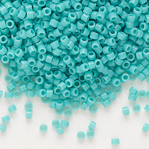 seed bead, delica, glass, opaque mint green, (db729), #11 round. sold per 50-gram pkg.