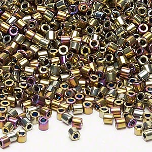 seed bead, delica, glass, opaque nickel-finished rainbow raspberry, (dbl29), #8 round. sold per 50-gram pkg.