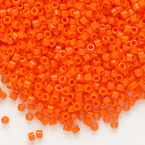 seed bead, delica, glass, opaque orange, (db722), #11 round. sold per 7.5-gram pkg.