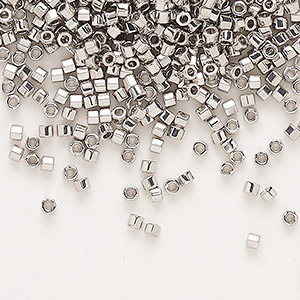 seed bead, delica, glass, opaque palladium-finished, (dbc-0038), #11 cut. sold per 250-gram pkg.