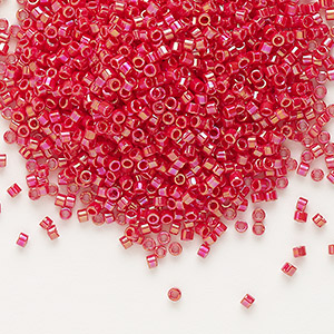 seed bead, delica, glass, opaque rainbow dark red, (db162), #11 round. sold per pkg of 250 grams.