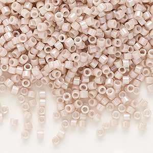 seed bead, delica, glass, opaque rainbow mocha, (db1505), #11 round. sold per 7.5-gram pkg.