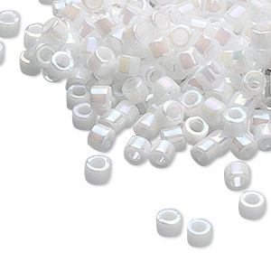 seed bead, delica, glass, opaque rainbow pearl, (db202), #11 round. sold per 50-gram pkg.