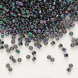 seed bead, delica, glass, opaque rainbow purple rose, (db1001), #11 round. sold per 50-gram pkg.