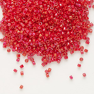 seed bead, delica, glass, opaque rainbow red, (db214), #11 round. sold per 7.5-gram pkg.