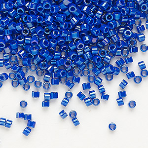 seed bead, delica, glass, opaque rainbow royal blue, (db216), #11 round. sold per 7.5-gram pkg.