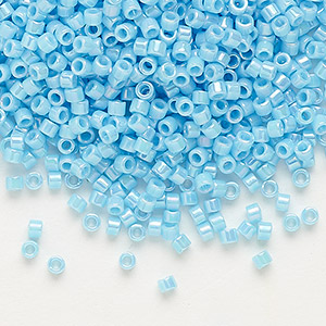 seed bead, delica, glass, opaque rainbow turquoise blue, (db164), #11 round. sold per 7.5-gram pkg.