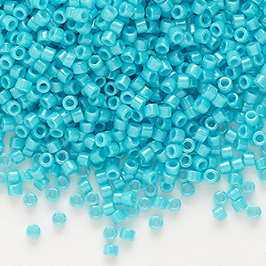 seed bead, delica, glass, opaque turquoise green, (db658), #11 round. sold per 250-gram pkg.