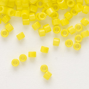 seed bead, delica, glass, opaque yellow, (db721), #11 round. sold per 50-gram pkg.
