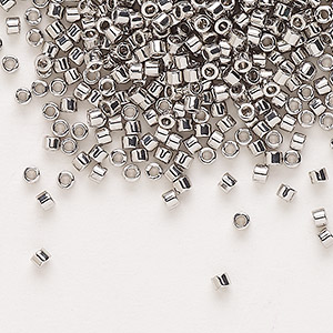seed bead, delica, glass, palladium-finished, (db38), #11 round. sold per 250-gram pkg.