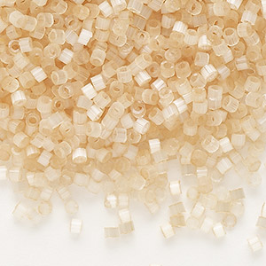 seed bead, delica, glass, silk luster light tan, (db674), #11 round. sold per 7.5-gram pkg.