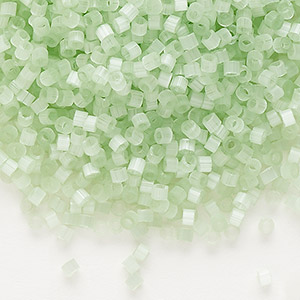 seed bead, delica, glass, silk mint green, (db828), #11 round. sold per 50-gram pkg.