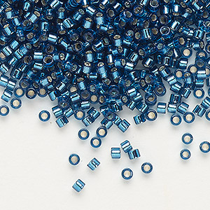 seed bead, delica, glass, silver-lined blue zircon, (db608), #11 round. sold per 50-gram pkg.