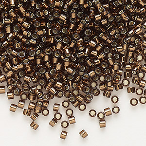 seed bead, delica, glass, silver-lined chocolate, (db150), #11 round. sold per 50-gram pkg.