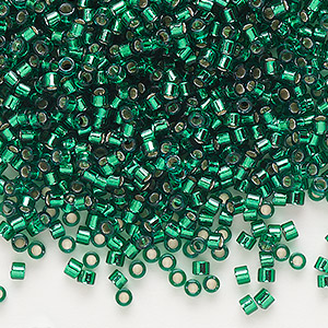 seed bead, delica, glass, silver-lined emerald green, (db605), #11 round. sold per 250-gram pkg.