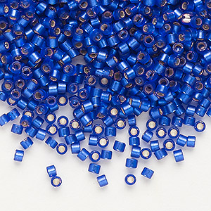 seed bead, delica, glass, silver-lined frosted cobalt, (db696), #11 round. sold per 7.5-gram pkg.