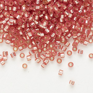 seed bead, delica, glass, silver-lined frosted dark rose, (db685), #11 round. sold per 250-gram pkg.