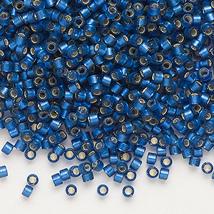 seed bead, delica, glass, silver-lined frosted medium blue, (db693), #11 round. sold per 50-gram pkg.