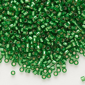 seed bead, delica, glass, silver-lined frosted medium green, (db688), #11 round. sold per 50-gram pkg.