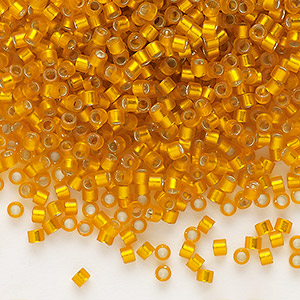 seed bead, delica, glass, silver-lined frosted squash, (db681), #11 round. sold per 7.5-gram pkg.