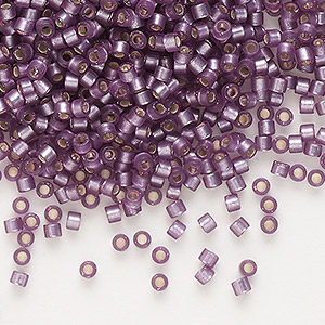 seed bead, delica, glass, silver-lined frosted violet, (db695), #11 round. sold per 50-gram pkg.