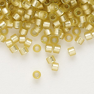 seed bead, delica, glass, silver-lined frosted yellow-green, (db687), #11 round. sold per 7.5-gram pkg.