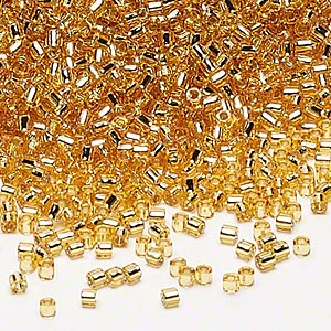 seed bead, delica, glass, silver-lined gold, (dbl42), #8 round. sold per 7.5-gram pkg.