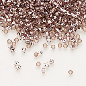 seed bead, delica, glass, silver-lined lavender, (db146), #11 round. sold per 7.5-gram pkg.