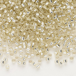 seed bead, delica, glass, silver-lined light gold, (db1432), #11 round. sold per 50-gram pkg.