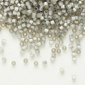 seed bead, delica, glass, silver-lined opal grey, (db630), #11 round. sold per 7.5-gram pkg.