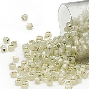 seed bead, delica, glass, silver-lined opal moss green, (db1453), #11 round. sold per 7.5-gram pkg.