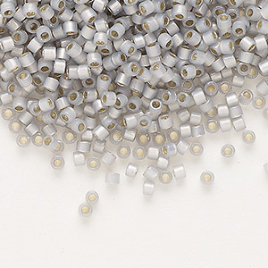 seed bead, delica, glass, silver-lined opal periwinkle, (db1455), #11 round. sold per pkg of 250 grams.