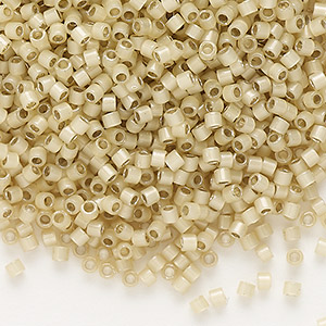 seed bead, delica, glass, silver-lined opal tan, (db1458), #11 round. sold per 50-gram pkg.