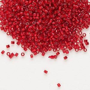 seed bead, delica, glass, silver-lined red, (db602), #11 round. sold per 50-gram pkg.
