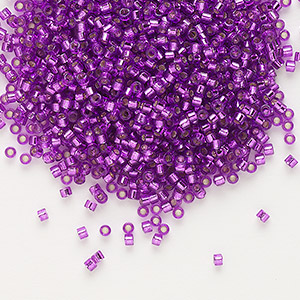 seed bead, delica, glass, silver-lined red violet, (db1345), #11 round. sold per 7.5-gram pkg.