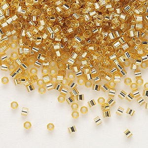 seed bead, delica, glass, silver-lined translucent gold, (dbc-0024), #11 cut. sold per 250-gram pkg.
