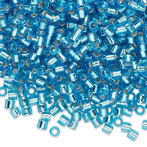 seed bead, delica, glass, silver-lined transparent aqua blue, (dbl44), #8 round, 1.5mm hole. sold per 250-gram pkg.