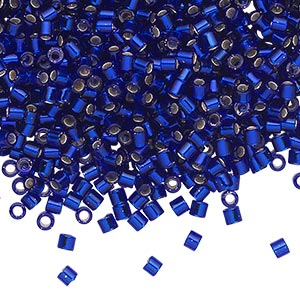 seed bead, delica, glass, silver-lined transparent cobalt blue, (dbl47), #8 round, 1.5mm hole. sold per 7.5-gram pkg.