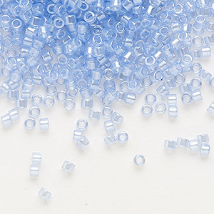 seed bead, delica, glass, translucent luster blue topaz, (db1475), #11 round. sold per 7.5-gram pkg.