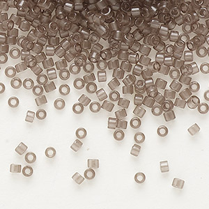 seed bead, delica, glass, transparent crystal charcoal, (db1417), #11 round. sold per 7.5-gram pkg.
